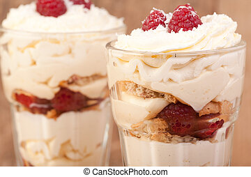 raspberry, lemon and coconut desert - close up raspberry,...