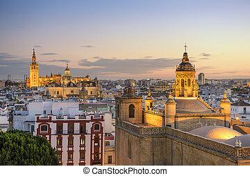Seville, Spain City Skyline - Seville, Spain city skyline at...