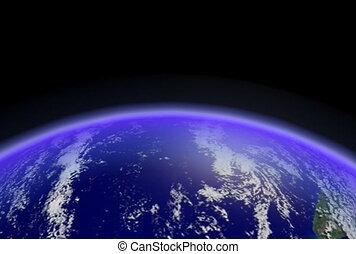Earth Horizon Loop CG ntsc - Horizontal fast spinning earth...
