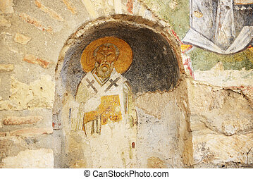 The painting on wall in church of St Nicholas at Myra,...