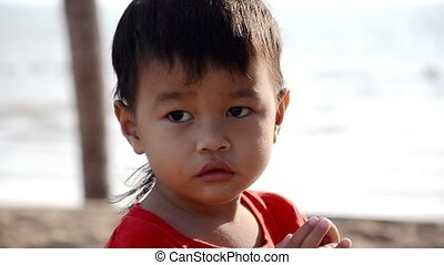 thai kid portrait, close up, slow m - beautiful thai child...