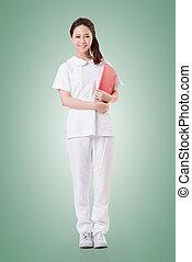 Asian nurse - Attractive Asian nurse, woman portrait.Full...