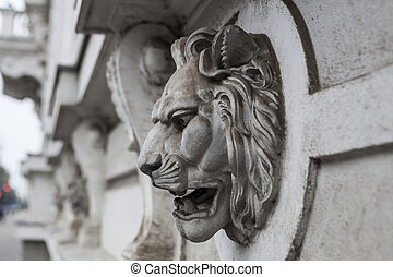 Lion Head - Old lion head scultures on old european building...