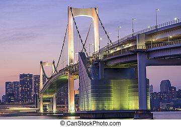 Tokyo, Japan at Rainbow Bridge - Tokyo, Japan at Tokyo Bay.