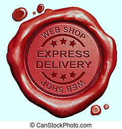 express delivery stamp - express delivery web shop order red...