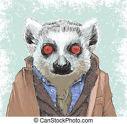 Dapper Lemur Illustration - Hand drawn and highly detailed!...