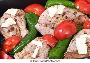 Roast chicken mediterranean style - A raw spiced chicken...