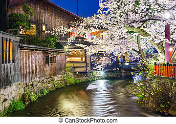 Kyoto, Japan Spring River View - Kyoto, Japan at the...