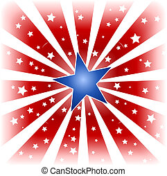 Star burst in USA colors - USA, 4th of july red white star...