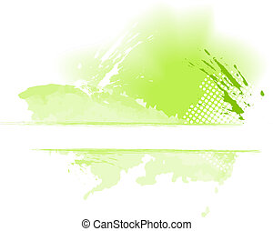 Green grungy color splash with space for text - Grungy paint...