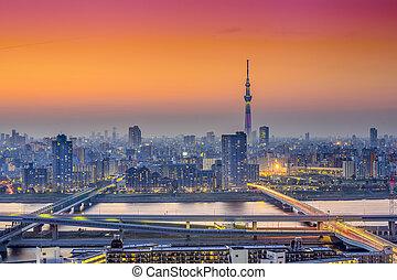 Tokyo, Japan City Skyline at Dusk - Tokyo, Japan city...