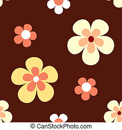 Seamless retro flowers pattern - Retro flowers in bright...