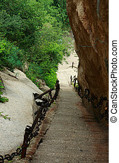 perpendicular staircase in Huangshan park - a perpendicular...