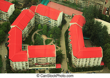 aerial view on two backyards in Beijing