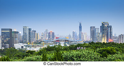 Shenzhen, China City Skyline. - Shenzhen, China civic center...