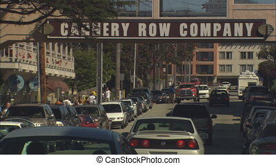 Monterey Cannery Row - Zoom out of Cannery Row signs in...