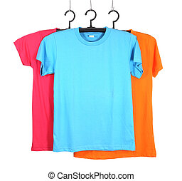 three t-shirt template on hange isolated on white background