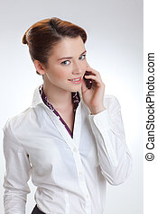 Business woman in office with telephon - Business woman in...
