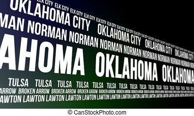 Oklahoma State Major Cities Banner - Animated scrolling...