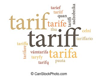 term of tariff in multi languages of word clouds isolated on...
