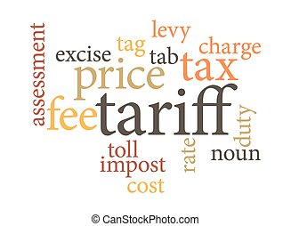 term of tariff in word clouds isolated on white background