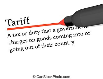 term of tariff underlined in red color by a pen isolated on...