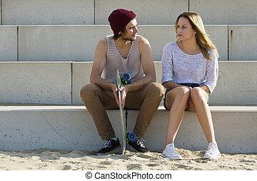 conversación, pareja, joven