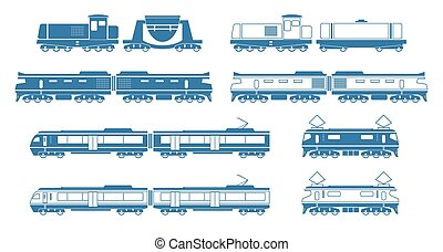 Trains - Silhouettes of modern trains Vector illustration