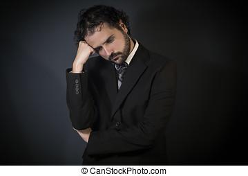 Sad man thinking