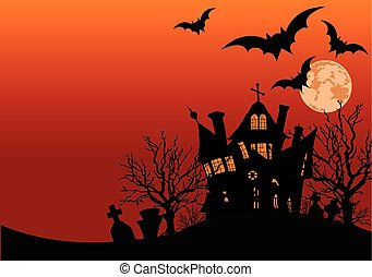 Haunted house - Illustration of Halloween haunted house...