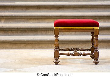 Wooden stool - Old wooden stool with red seat and the stairs...