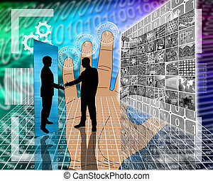 meeting on the Internet - Abstract image on computers, the...