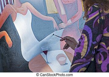 Artist at work in Puerto Vallarta, Mexico