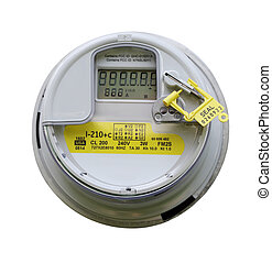 Electric Meter - Front view of electric meter isolated on...