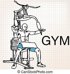 Illustration of muscular man exercising on a lat machine in...