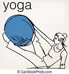 Pilates illustration of woman stability ball gym fitness...