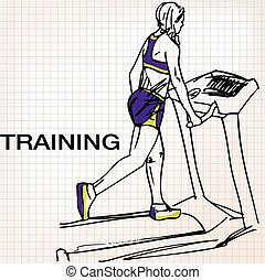 Illustration of Athletic woman on gym class walk treadmill...