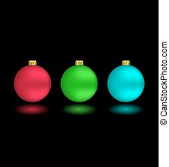 Self-illuminated Christmas balls on black - Three...