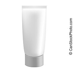 Grey cream tube isolated on white