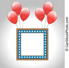 Photo frame in US national colors with balloons - Photo...