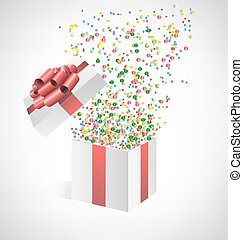 confetti with gift box on grayscale - Multicolored confetti...