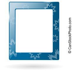 Glassy frame with snowflakes isolated on white