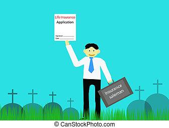 Insurance saleman in graveyard.Vector illustration -...