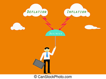 Businessman risk with deflation and inflation.Vector...