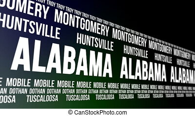 Alabama State Major Cities Banner - Animated scrolling...