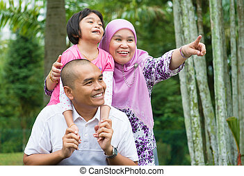 Asian Muslim family outdoor - Happy Southeast Asian Muslim...