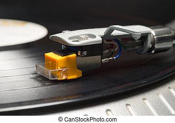 enregistrement, joueur, Phonographe, tonalité, bras,...