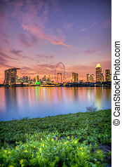Singapore Skyline at sunset - View of Singapore city skyline...