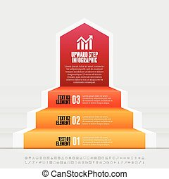 Upward Step Infographic - Vector illustration of upward step...
