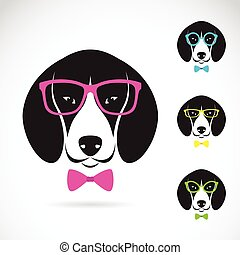 Vector images of dog beagle wearing glasses on white...